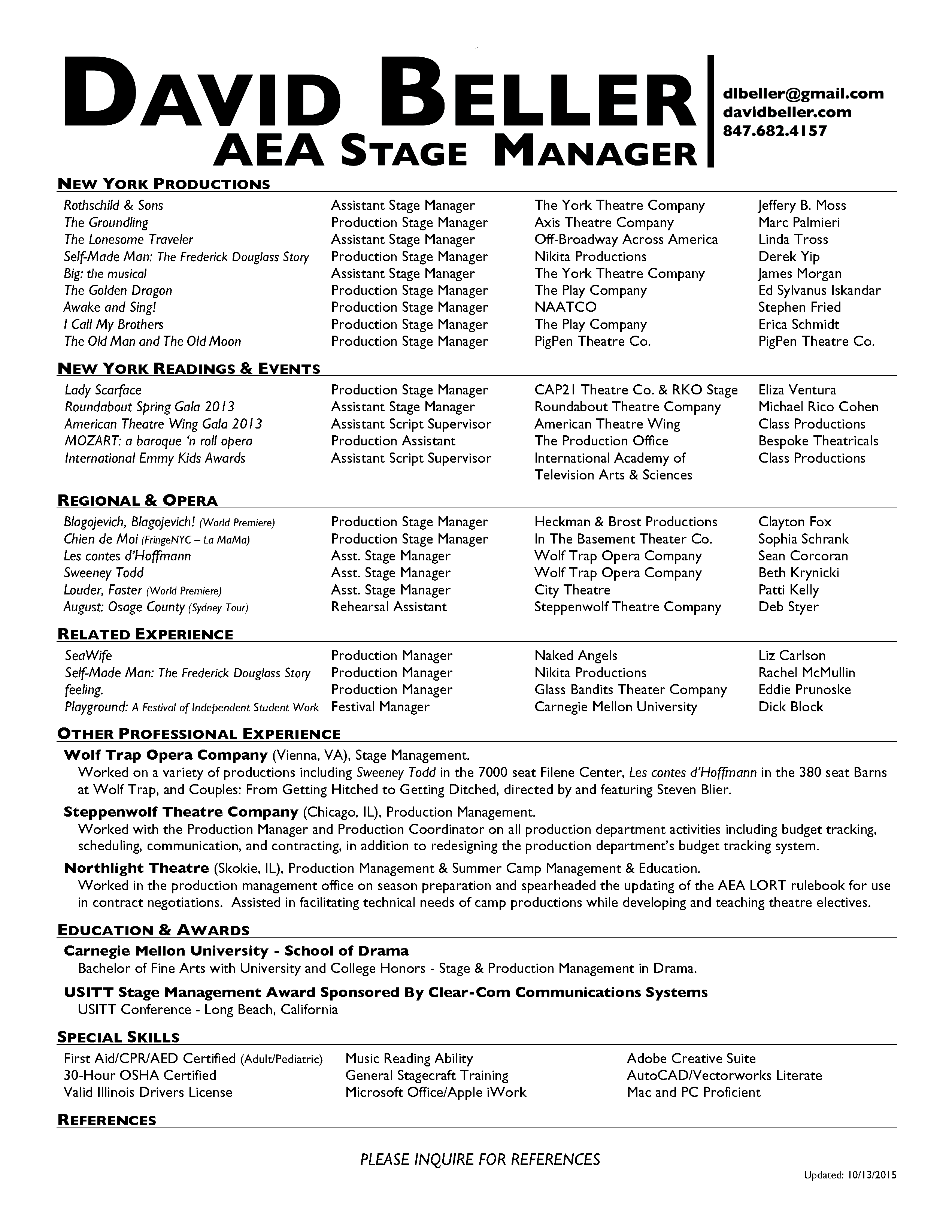 Graduate student term papers: - Binghamton production manager ...